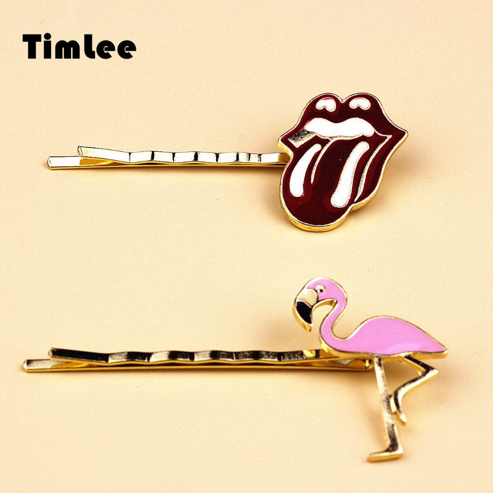 Timlee H129 Free Shipping Cartoon Lovely bird Red lip Tongue Metal Hair Clip hair accessory wholesale