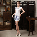Branco E Azul das Mulheres Chinesas Cheongsam Chinês Tradicional Vestido de Noite Das Mulheres Vestido Magro Lady Vestido Curto XXL Szie JQY175003