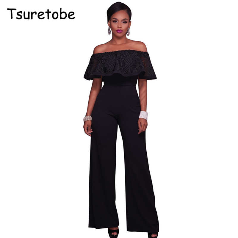 Tsuretobe Fashion Summer Bodycon Ruffles Jumpsuits female Wide Leg Romper Womens Jumpsuit Sexy Strapless Macacao Feminino
