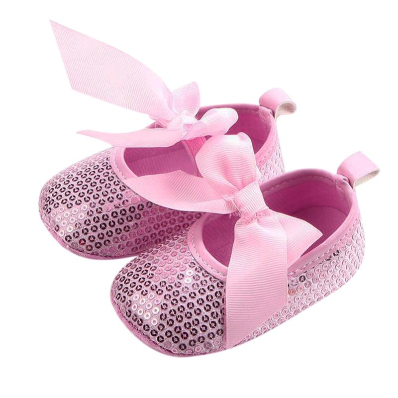 Baby Moccasins Shoes First Walkers Infant Girls Bowknot Sequin Soft Sole Slip-on Sneakers Anti Slip Newborn Prewalkers Pink Red