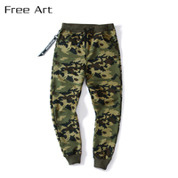 In The Spring Of New Digital Camouflage Male Feet Pants Loose Big Pattern Full Length Cotton Elastic Waist Casual Militar