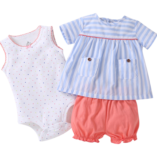 summer Baby girl clothes sleeveless dot T shirt tops+bodysuit+shorts clothing set newborn outfit 2019 new born suit cotton 2