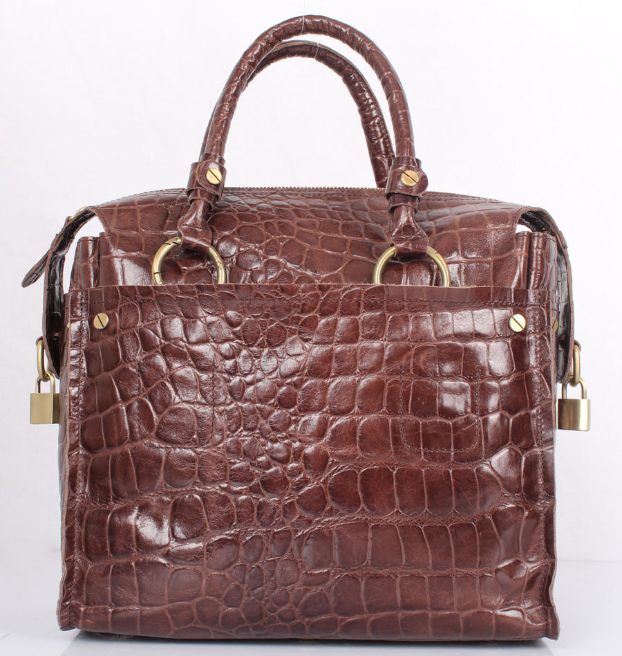 FREE logo Italian Leather Handbags Wholesale genuine Italian cow leather embossed with crocodile effect leather handbags