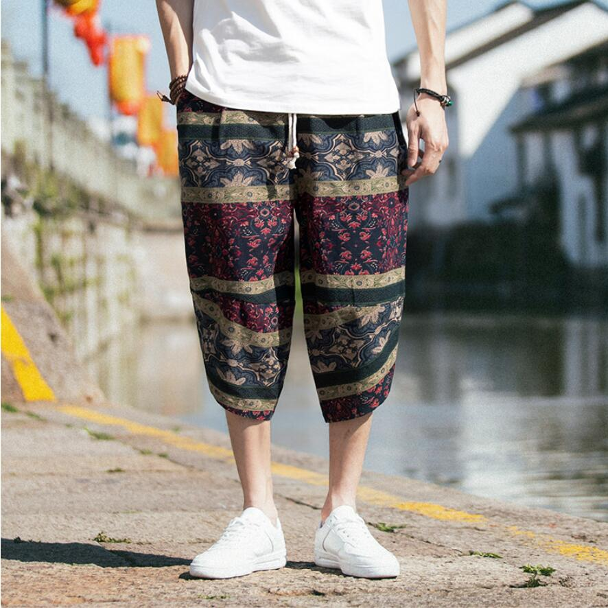 Waistline Pants Lantern Elastic Leisure Fashion Summer Male Brand Printing Premium S-5XL