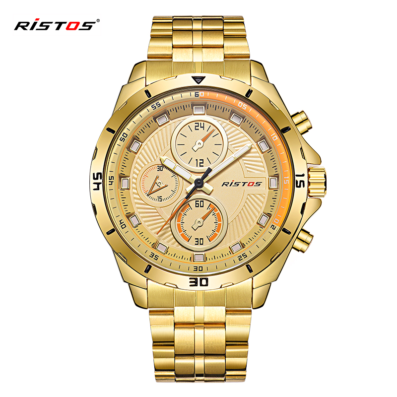 2018 Ristos Mens Watches Luxury Metal Stainless Steel Sport Watch Bracelet Waterproof Watches For Man gift relojes hombre 9330