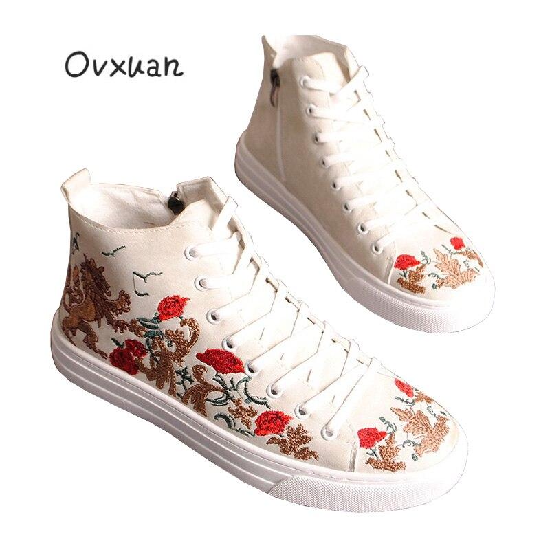 OVXUAN 2019 nouveau printemps automne mâle brodé mocassins chaussures fleur rouge chaussures décontractées créateur de mode robe de bal chaussures plates hommes