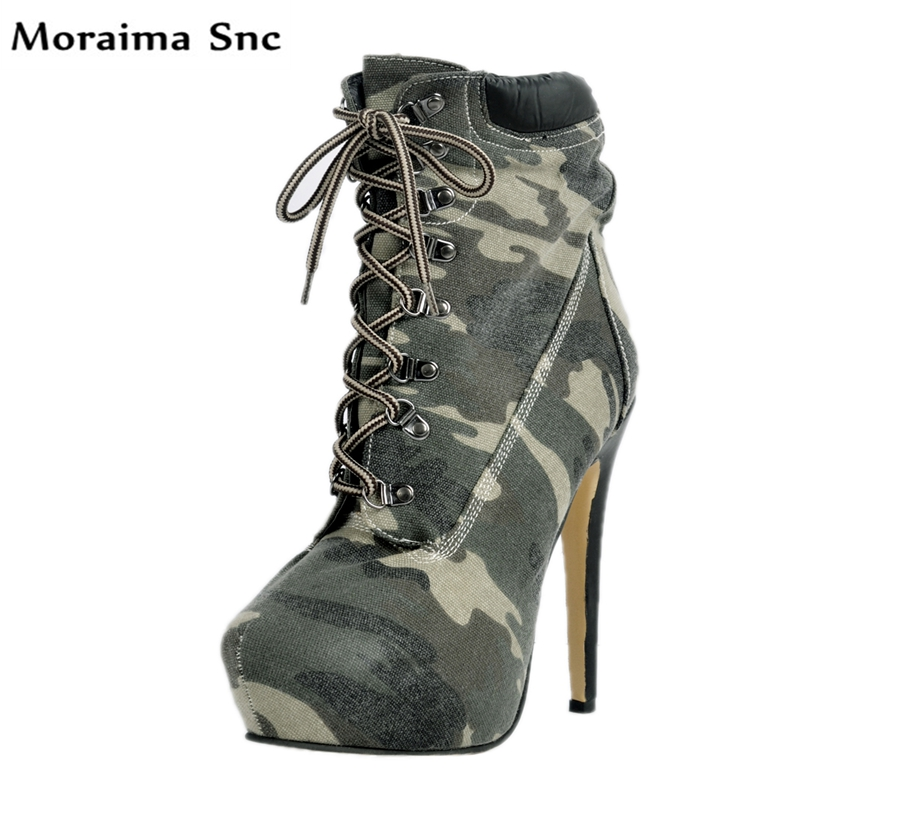 Moraima Snc hot selling women boots mixed colors round toe high platform mid-calf Lace-up metal Decoration high thin heels moraima snc red boots transparent high heels boots women square toe mid calf rainboots sexy ankle boots for women bottine femme