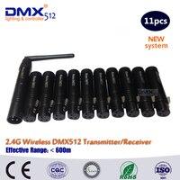 Nuevo DHL envío gratis 11 piezas dmx antena inalámbrico DMX transmisor receptor inalámbrico de transferencia de señal