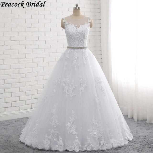 Peacock Vestido De Noiva Detachable Crystal Belt Lace Bridal Dress Sleeveless Side Zipper Princess Vintage Lace Wedding Dress