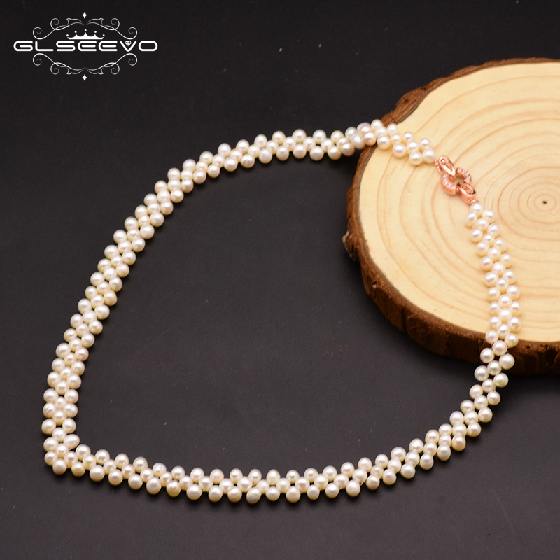 GLSEEVO Natural Fresh Water Pearl Handmade Choker Necklace For Women Wedding Engagement Party Luxury Fine Jewelry Kolye GN0101GLSEEVO Natural Fresh Water Pearl Handmade Choker Necklace For Women Wedding Engagement Party Luxury Fine Jewelry Kolye GN0101