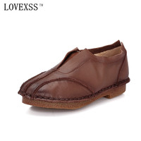 LOVEXSS Retro Genuine Leather Flats Black Gray Brown Woman Loafers Student Shoes 2017 Spring Flat Platform