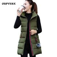 Hair ball autumn winter down cotton vest women's medium long thicken plus size jacket fashion hooded slim cotton clothing female