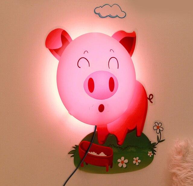 Новинка 3D Мультфильм Розовая Свинья Стикер Стены Детская Комната Ночь Свет Лампы LED