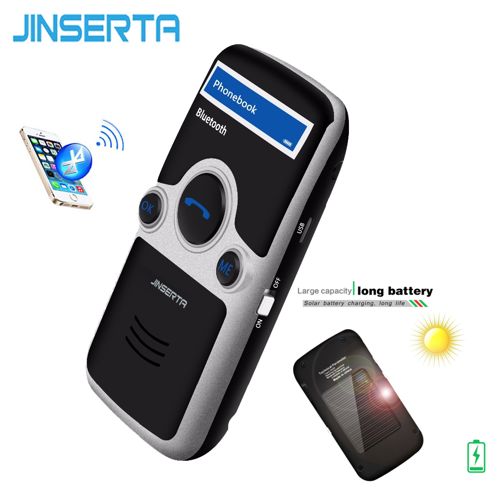 JINSERTA A6 Solar Bluetooth handsfree car kit FM Stereo Transmitter Multi Language LED Display Bluetooth Speaker Speakerphone