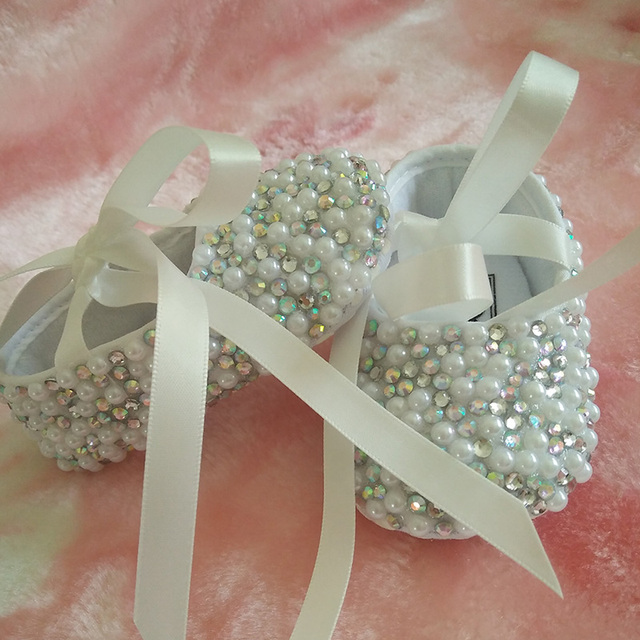free shipping handmade pearl rhinestone ribbon Crystal Baby Girl's shoes Child kids shoes handmade Bling Bling bead soft shoes