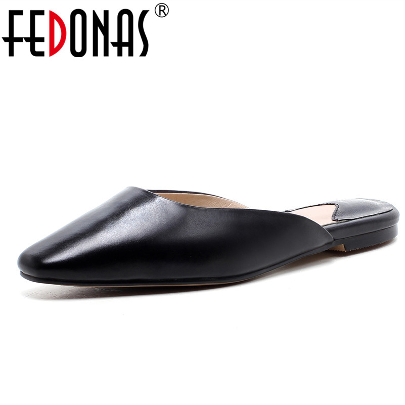 FEDONAS 2018 Summer Women New Genuine Leather Shoes Woman Round Toe Roman Spring Summer Flats Heels Comfortable Casual Shoes