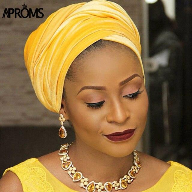 Aproms Candy Colors Women Headwear Velvet Headwrap African