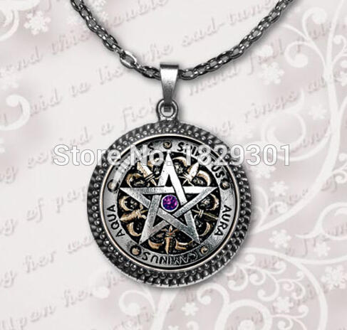 2017 New Sale Maxi Necklaces Collier Collares Wiccan For Necklace Magick Pagan Pentagram Jewelry Glass Dome Pendant HZ1