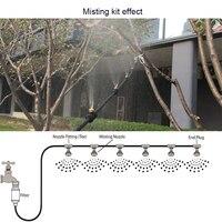 18 m (60 pés) de alta Qualidade Ao Ar Livre 1/4 ''Kit Sistema De Nebulização De Baixa Pressão Mangueira de Jardim Cabeça de Pulverização com Conector com Filtro Inline