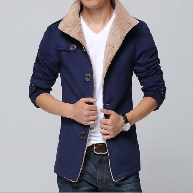 2016 Homens de inverno de Alta Qualidade Casaco De Lã Trincheira Casaco Pano de lã dos homens de Espessura único Breasted Blusão Longo Casaco DFBTC002