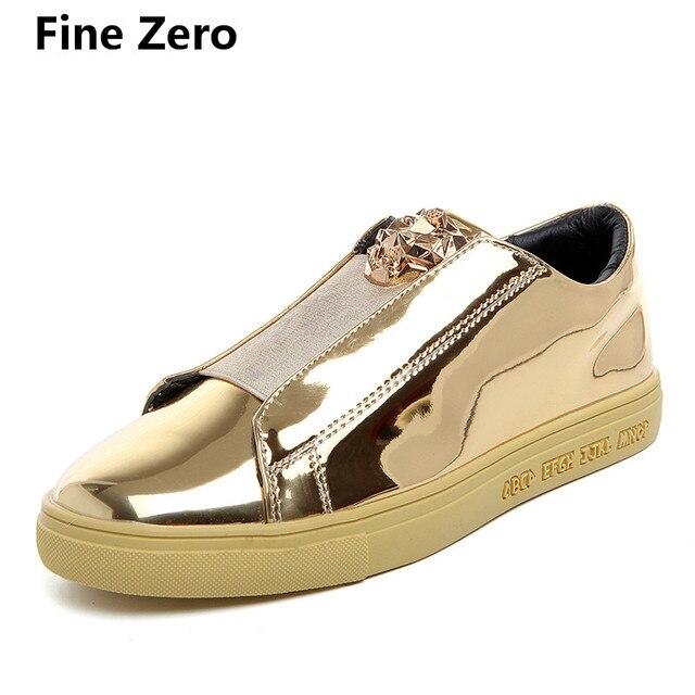 Fine Zero 2018 hombres cabeza de león loafer casual flats Primavera Verano hombres oxfords lace up ocio todo estudiante charol zapatos