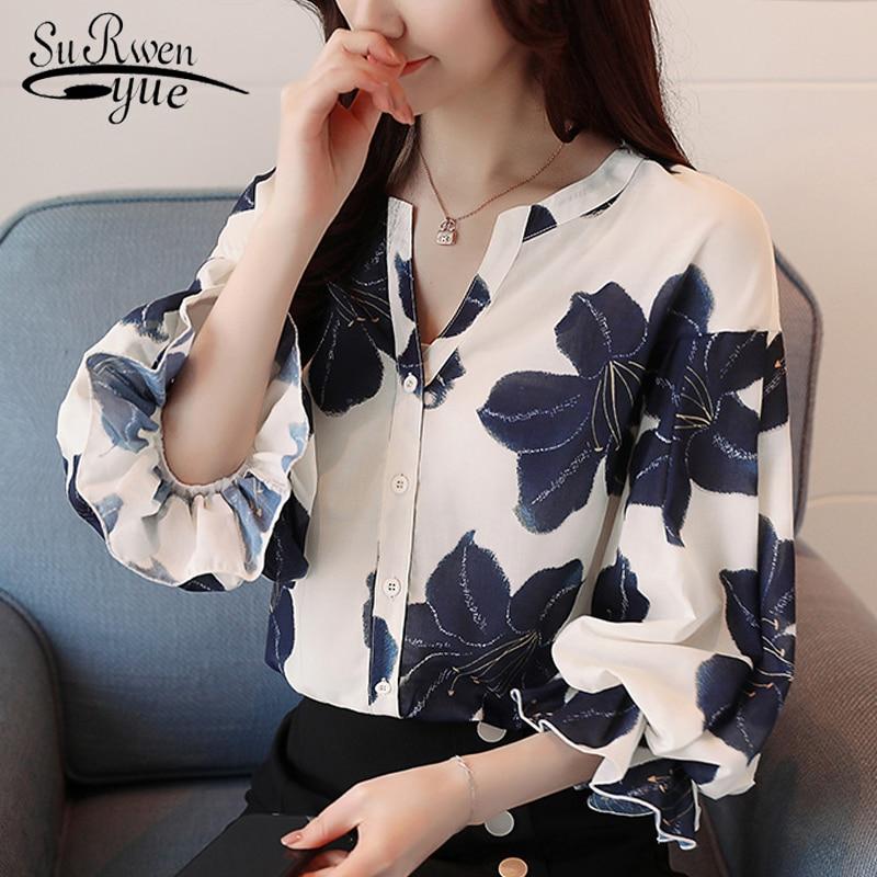 Casual floral print v-neck OL   blouse   women tops fashion woman   blouses   2018 chiffon   blouse     shirt   blusa feminina   shirt   0964 40