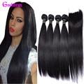 7A Peruvian Virgin Hair With Closure Peruvian Straight Hair 4 Bundles With Closure Human Hair With Closure 4x4 Lace Closure