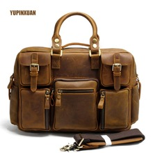 YUPINXUAN Europe Vintage Handmade Cow Leather Briefcases for Men Crazy Horse Leather Office Bag Big 15.6″ Laptop Handbag Cowhide