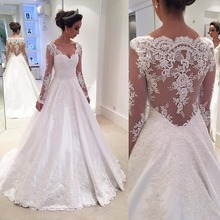 Robe de Mariage V-Neck Wedding Gowns with Long Sleeves Bride Dress Vestido de Noiva White Lace Wedding Dresses for Bridal 2017