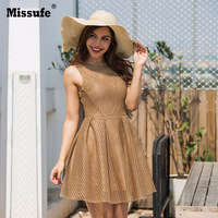 Missufe Sweet Mesh Fit And Flare Large Hem Holiday Party Dress Women 2017 Autumn Winter Casual
