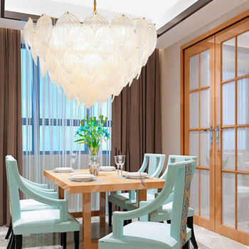 Luminaire suspendu créatif Post-moderne, restaurant individuel, salle à manger, chambre, lampe suspendue, feuilles de verre, luminaire suspendu