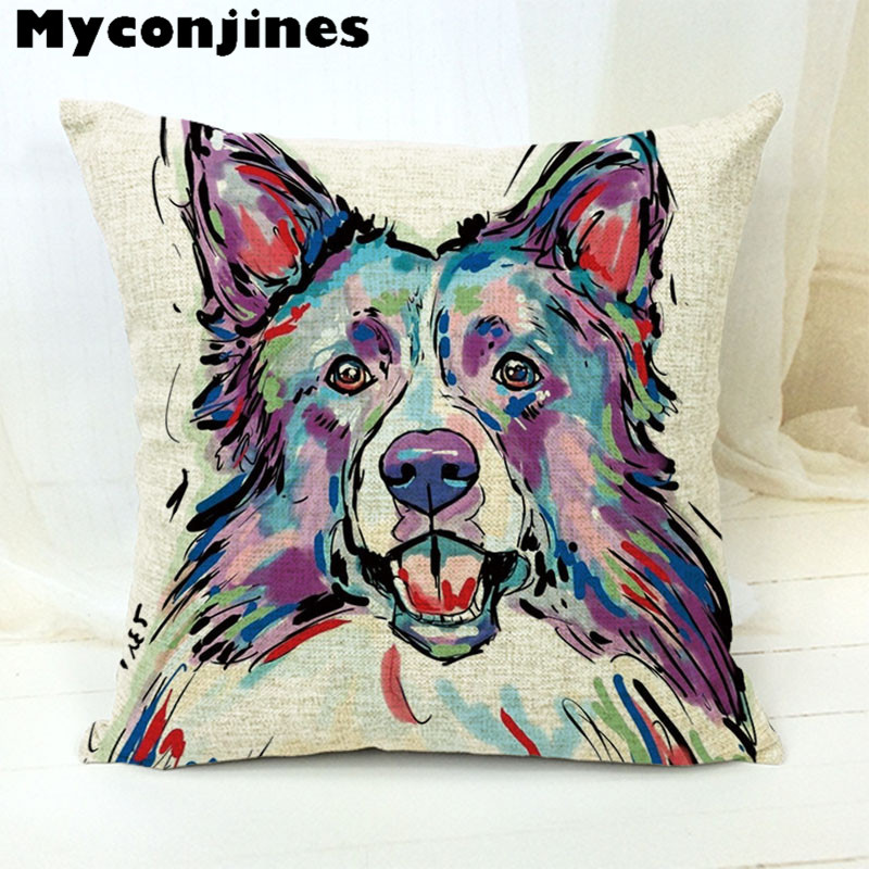 Car covers Cartoon and Colorful Dog Golden Retrieve Cotton Almofada Cojines 45Cmx45Cm Square Home Decor Houseware Cushion Cover in Cushion Cover from Home Garden