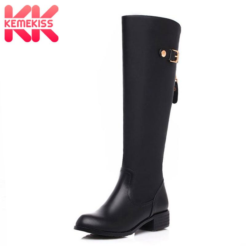 KemeKiss Women Real Genuine Leather Round Toe Knee Boots Woman Low Heel Knight Boot Female Zipper Flat Shoes Size 33-46 vintage women genuine real leather knee boots winter boot sexy square heel round toe zipper fashion women boots shoes size 33 40