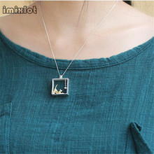 imixlot imixlot sterling silver jewelry Cat Necklace Silver Chain kitty Necklaces & Pendants for women girl Collares 2017 colar