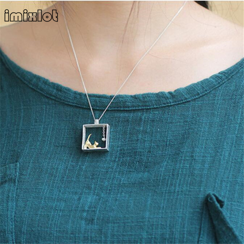 imixlot sterling silver jewelry Cat Necklace Silver Chain kitty Necklaces Pendants for women girl Collares 2017