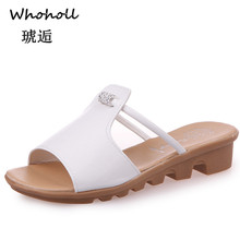 Whoholl 2019 New Summer Women Sandals Fashion Wild Casual Rhinestones and Slippers Womens Low-heeled Female 41