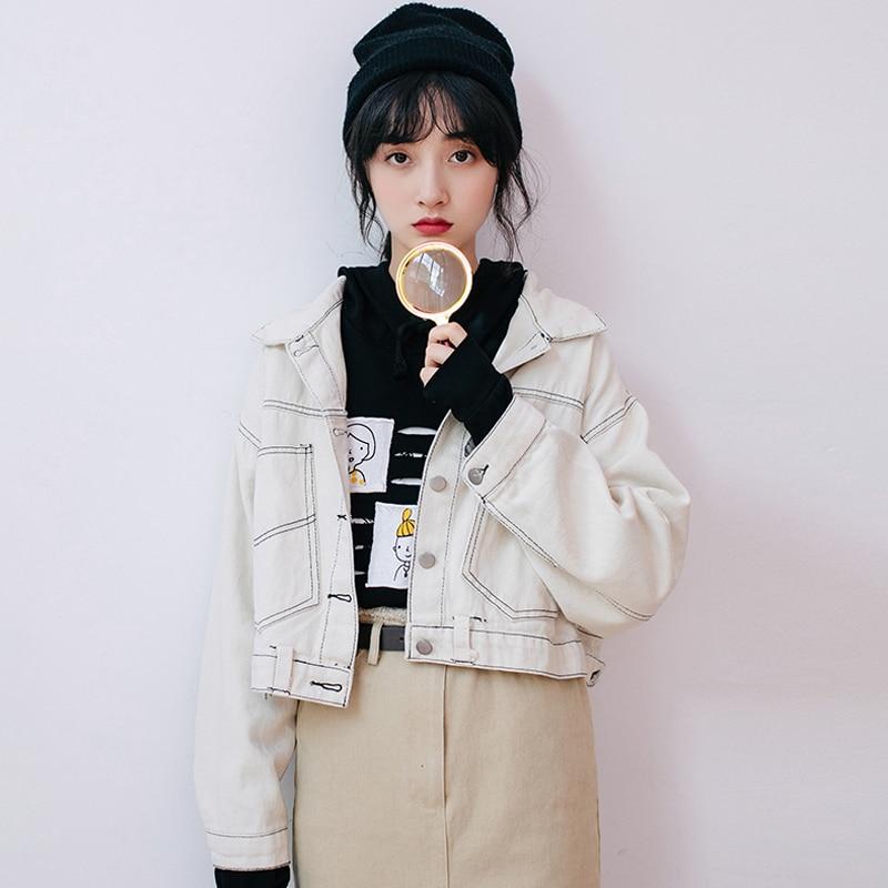 2019 Autumn New Women   Basic     Jackets   Female Single-breasted Casual Long Sleeves Windbreaker Female Short   Jacket   Outerwear R359