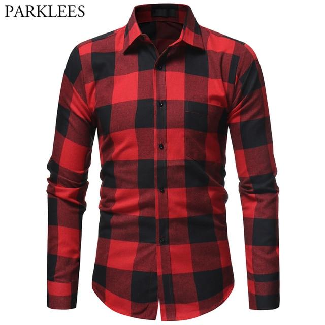 eb6ae0bf4e Buffalo Flannel Cotton Plaid Shirt Men 2019 Vintage Black Red Mens Checked  Social Dress Shirts With