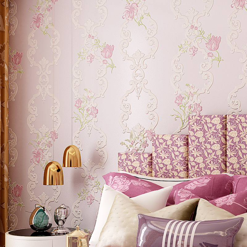 Купить с кэшбэком PAYSOTA 3D Embossed Wallpaper  European Style Non-woven Fabric Living Room  Wall Paper Roll