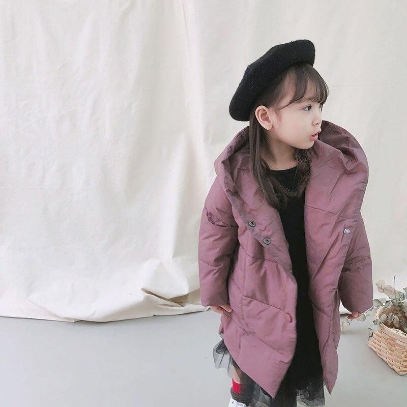Light 2018 New Winter Girls Coats Baby Long Cotton Hooded Girls Jackets Winter Kids Toddler Boys Parka Coat Black Purple Clothes цены