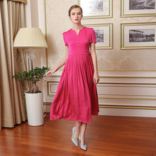 VOA 2017 Summer Heavy Silk Jacquard Red Vintage Dress Plus Size Women Elegant Short Sleeve High Waist Slim Maxi Dress A7587