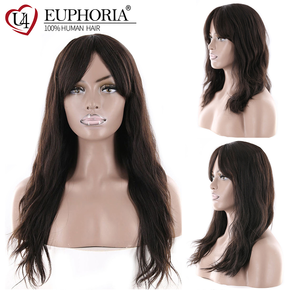 Natural Wave Human Hair Wigs With Bangs Middle Part EUPHORIA Brazilian Long Natural Color Hairpiece For