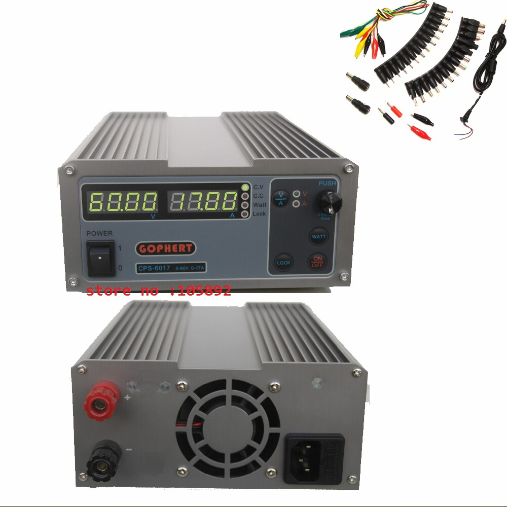New upgrade Compact Digital Adjustable DC Power Supply OVP/OCP/OTP MCU Active PFC 60V17A 170V-264V + EU +39pcs/set Jack Cable cps 6003 60v 3a dc high precision compact digital adjustable switching power supply ovp ocp otp low power 110v 220v