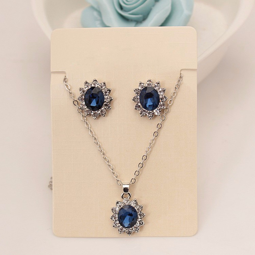 Vienkim 2020 New Fashion Blue Silver Color Crystal Jewelry Set Luxury Vintage Party Water Drop CZ Necklace&Earrings Fine Jewelry