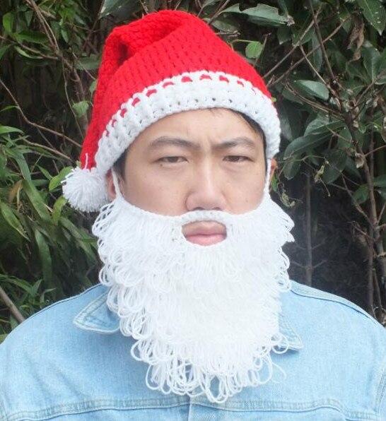 2017 Winter Crocheted Men's Santa Claus Hats With Beard Pom Poms Handmade Christmas Gifts Party Caps Fashion skull Beanies