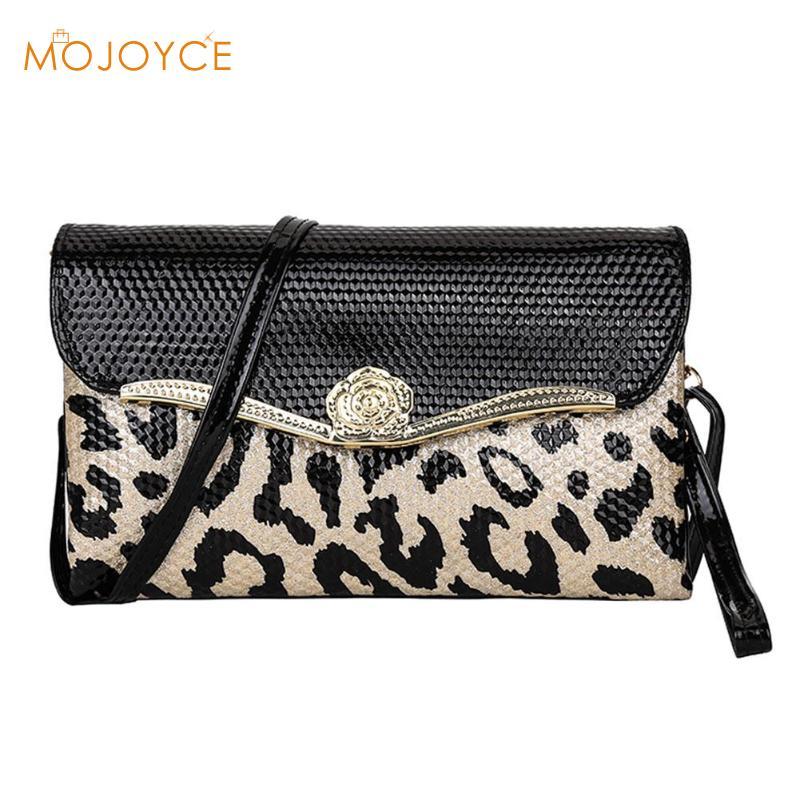 Для женщин клатч сумка клапаном конверт из искусственной кожи Сумки Для женщин сумка Повседневное модные Дизайн Leopard маленькая сумка для де...