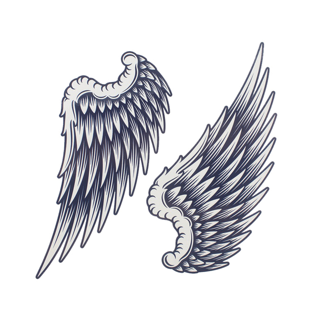 1pcs Big Cool Mens Black Wing Tattoosbeautiful Arm Back Angel Wings