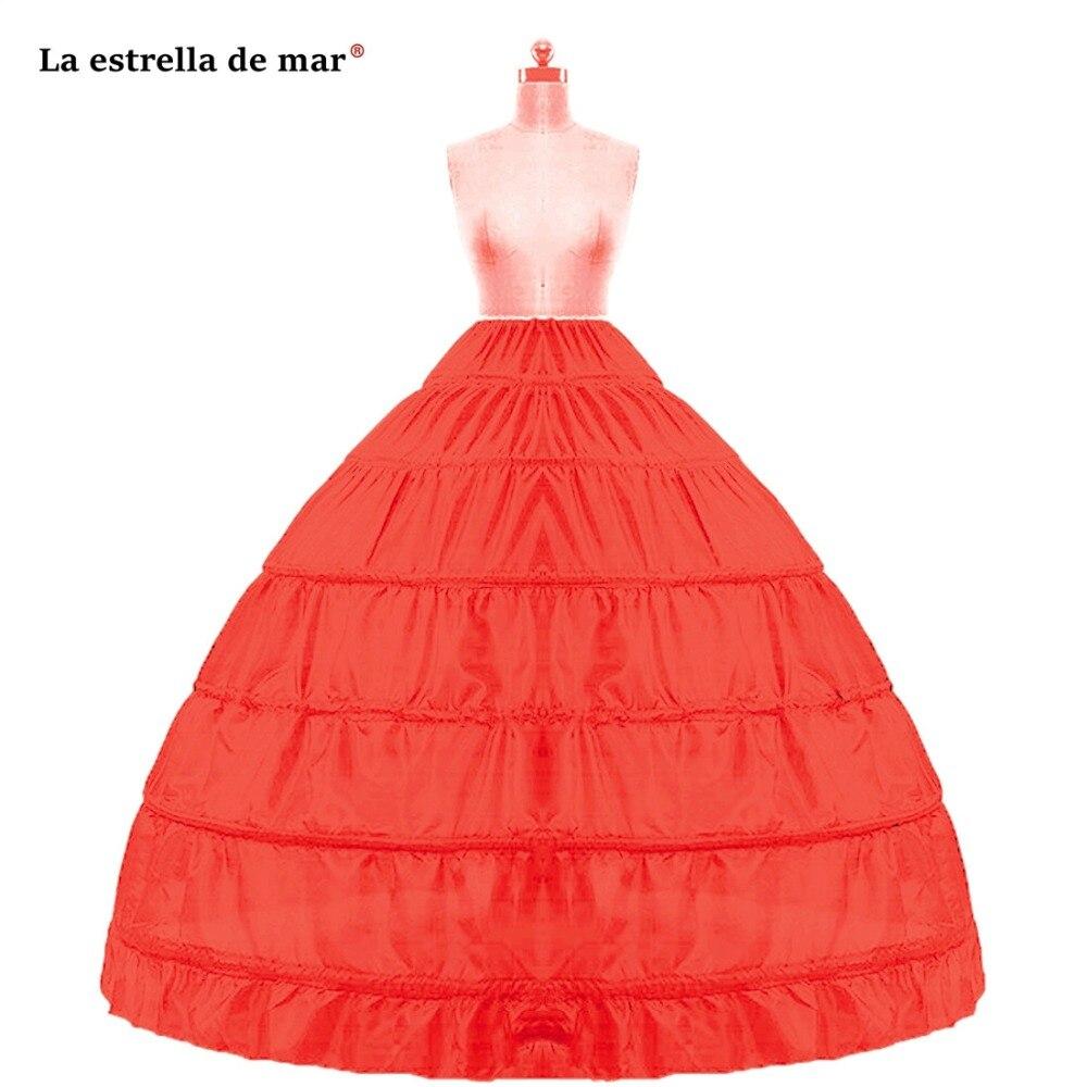 La Estrella De Mar Wholesale Plus Size Petticoats For Wedding Dress New Red White Black 6 Hoops Petticoat Cheap Crinoline Stock