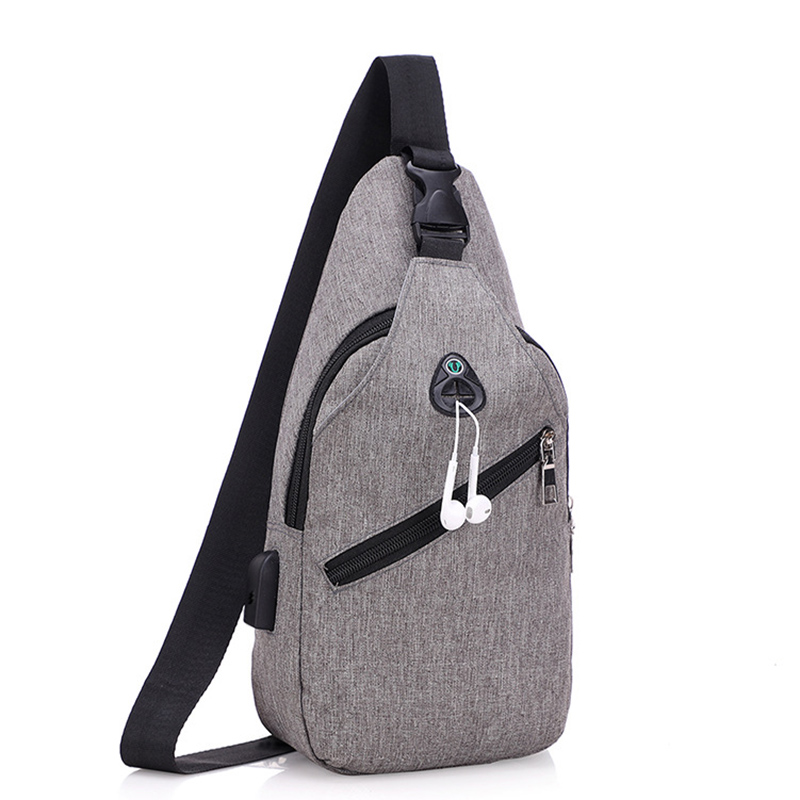 Casual Chest bags with Headphone hole High quality Oxford Men's Sport Messenger bags with USB Cable Shoulder bag 2019 Hot