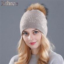 Xthree зима вязание шляпа для женщин шерсть шляпа шапочки 15 см реального норки пом англичане Блестящие шляпы Skullies девушки шляпа